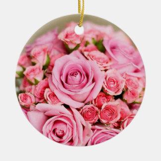 Pink Roses Bridal Bouquet Round Ceramic Decoration