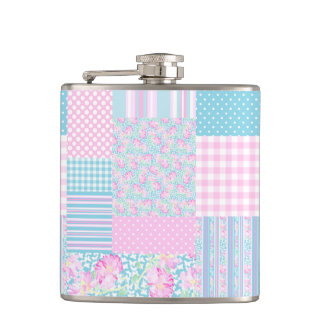Pink Roses Butterflies Faux Patchwork Hip Flask