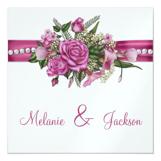 Pink Roses Callas Buds After Wedding Celebration Card