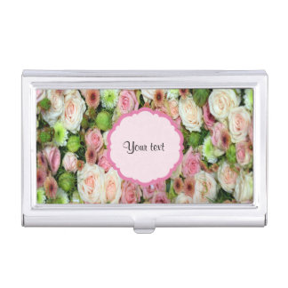 Pink  Roses & Chrysanthemums Case For Business Cards