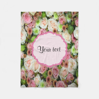 Pink  Roses & Chrysanthemums Fleece Blanket