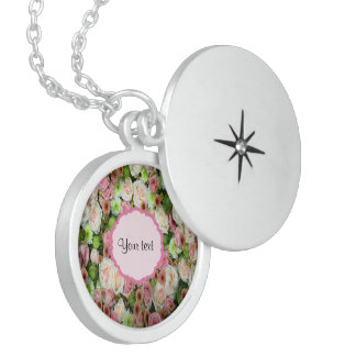 Pink  Roses & Chrysanthemums Round Locket Necklace
