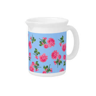 Pink roses country cottage floral jug - blue pitcher