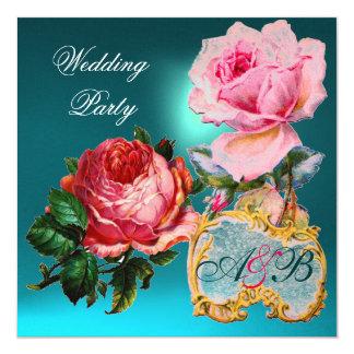 PINK ROSES,CUPID LACE HEART BLUE  WEDDING MONOGRAM 13 CM X 13 CM SQUARE INVITATION CARD