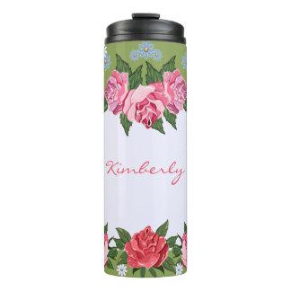 Pink Roses Custom Thermal Tumbler