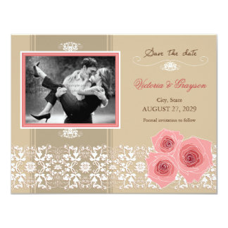 Pink Roses Damask Lace Save The Date Announcement