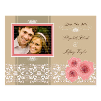 Pink Roses Damask Lace Save The Date Postcard