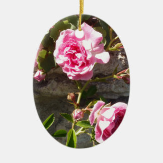 Pink Roses Double-Sided Oval Ceramic Christmas Ornament