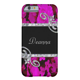 Pink Roses & Diamond Swirls Monogram Barely There iPhone 6 Case