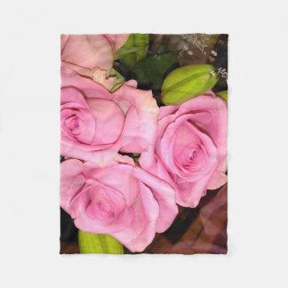Pink Roses Fleece Blanket