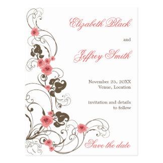 Pink Roses Fleur Elegant Save The Date Postcard