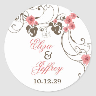 Pink Roses Fleur Floral Elegant Wedding Sticker