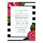 Pink Roses Floral Black + White Stripe Wedding 13 Cm X 18 Cm Invitation Card