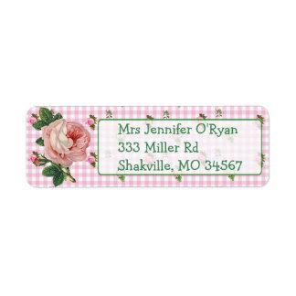 Pink Roses Floral Chic Return Address Label