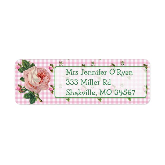 Pink Roses Floral Chic Return Address Label