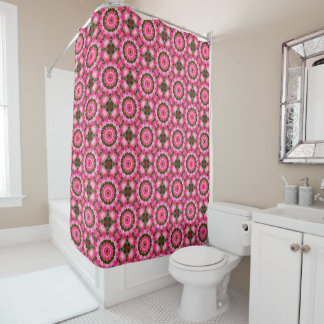 Pink Roses, Floral mandala-style Shower Curtain
