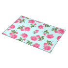 Pink roses floral pattern on blue cloth placemat