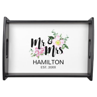Pink Roses Floral Personalized Wedding Serving Tray
