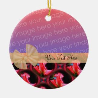 Pink Roses Floral Ribbon Photo Ornament