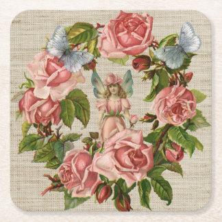 Pink Roses Flower Fairy Ring Cream Burlap Square Paper Coaster