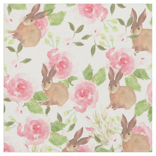 Pink roses flowers brown watercolor bunny rabbit fabric