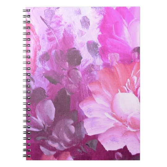 Pink Roses Flowers Vintage Watercolor Art Notebook