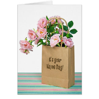Pink  Roses for Name Day Greeting Card