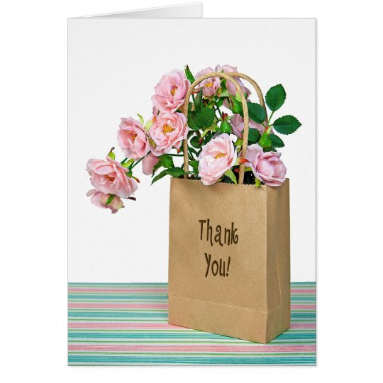 Pink roses for thank you card