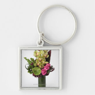 Pink roses, green anthuriums, cymbidium orchids Silver-Colored square key ring