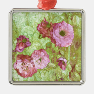 Pink Roses Green Leaves Silver-Colored Square Decoration