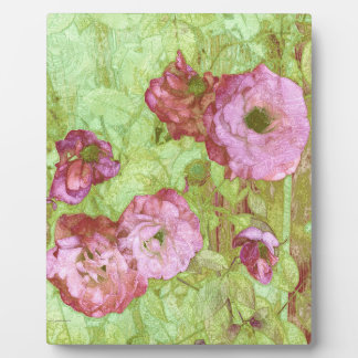Pink Roses Green Leaves Photo Plaque