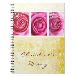 Pink roses grunge notebook