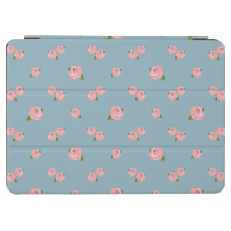 Pink Roses Horizontal Pattern on Blue iPad Air Cover