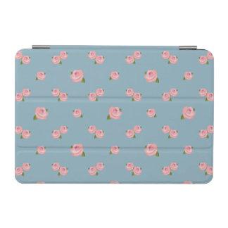 Pink Roses Horizontal Pattern on Blue iPad Mini Cover