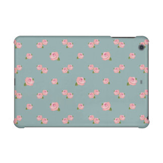 Pink Roses Horizontal Pattern on Light teal