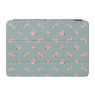 Pink Roses Horizontal Pattern on Light teal iPad Mini Cover