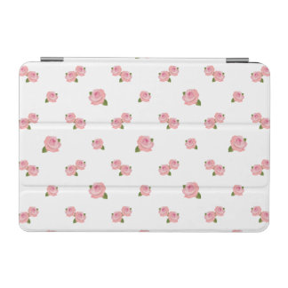 Pink Roses Horizontal Pattern on White iPad Mini Cover
