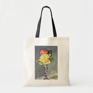 Pink Roses in a Vase, Edouard Manet flowers Budget Tote Bag
