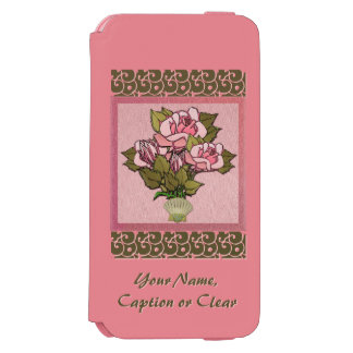 Pink Roses in Seashell Vase (Personalized) Incipio Watson™ iPhone 6 Wallet Case