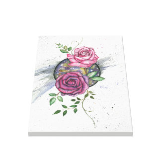 Pink roses in space, canvas print
