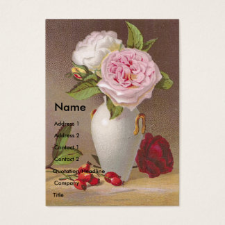 Pink Roses in White Vase Victorian Trade Card