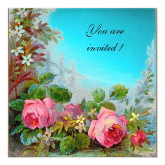 PINK ROSES & JASMINES  Aqua Blue,Turquase,Teal Gem 13 Cm X 13 Cm Square Invitation Card
