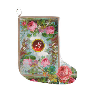 PINK ROSES ,JASMINES FLORAL RED GEMSTONE MONOGRAM LARGE CHRISTMAS STOCKING