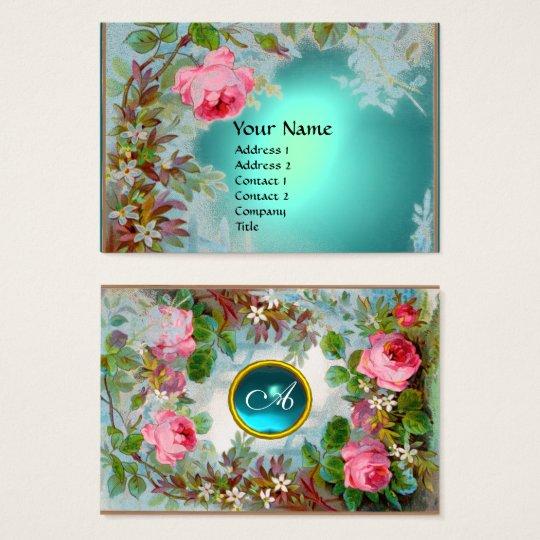 PINK ROSES & JASMINES MONOGRAM GEM STONE teal blue Business Card