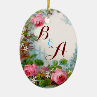 PINK ROSES & JASMINES MONOGRAM  Wedding Souvenir Christmas Ornament
