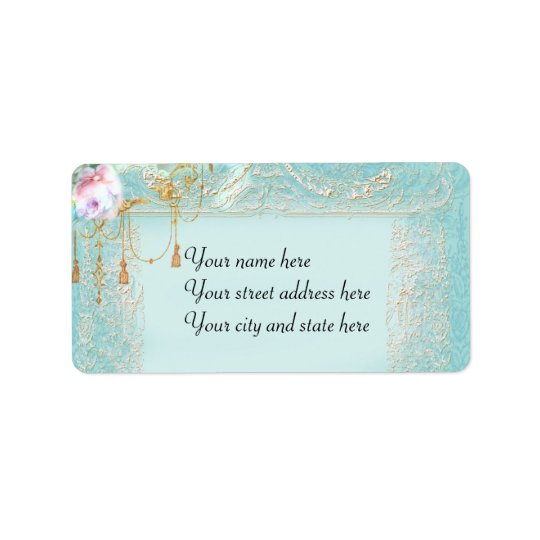 Pink Roses & Lace Address Label