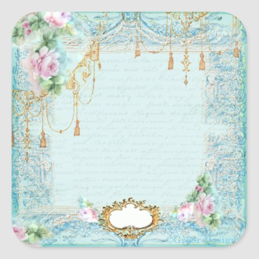 Pink Roses & Lace French Style Square Stickers