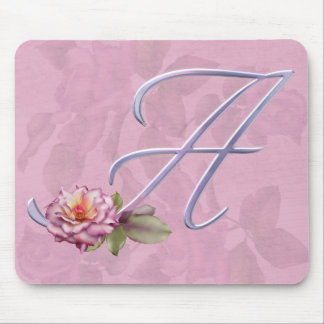 Pink Roses Monogram A Mouse Pad
