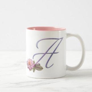 Pink Roses Monogram A Mugs