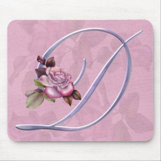 Pink Roses Monogram D Mouse Mats